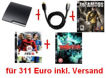 HDMI-Cable-Wolfenstein-inFamous-FIFA-10-Sony-PlayStation-3-Slim-Console-250GB-Model