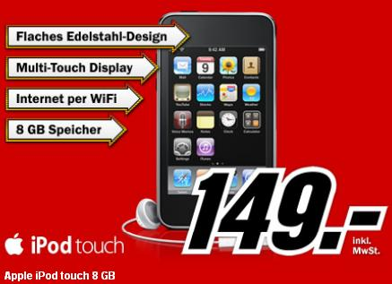 Apple iPod Touch 8GB 3G fuer 149euro