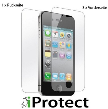 iprotect iphone 4 4s crystalclear 3 x vorderseite 1. Black Bedroom Furniture Sets. Home Design Ideas