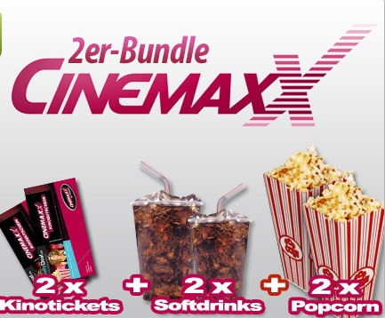 4 cinemaxx kinotickets 4x popcorn 1 6l 4x softdrinks 0 5l f r 35 80 update. Black Bedroom Furniture Sets. Home Design Ideas
