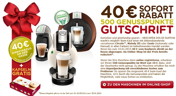 Dolce Gusto Sofortrabatt aktion