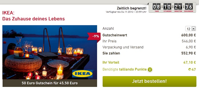 ikea gutscheine mit bis zu 7 85 rabatt bei talliando. Black Bedroom Furniture Sets. Home Design Ideas