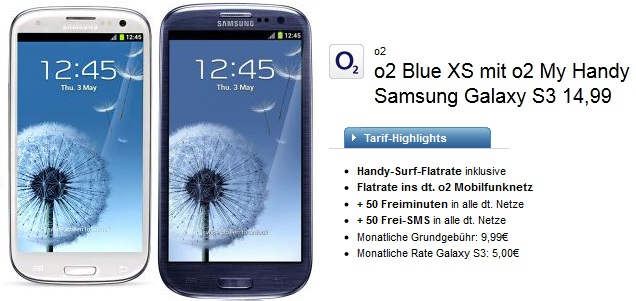 samsung galaxy s3 im o2 blue xs f r 14 99 pro monat. Black Bedroom Furniture Sets. Home Design Ideas
