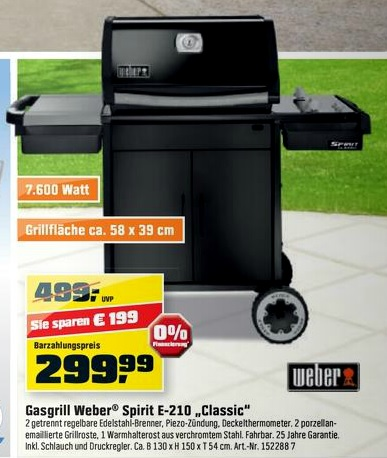 kracher weber spirit e 210 classic gasgrill ab 264. Black Bedroom Furniture Sets. Home Design Ideas