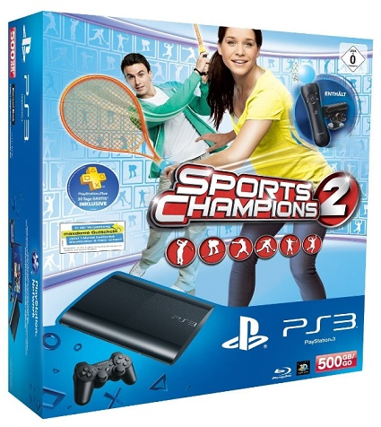 Sony Playstation 3 Super slim 500GB Sports Champions 2 Bundle mit Move