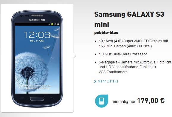 Samsung Galaxy S3 mini pebble-blue für 179€ *UPDATE ...