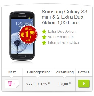 Samsung Galaxy S3 mini Handyvertrag
