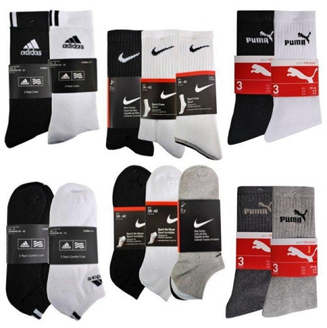 nike puma adidas sport sneaker socken im 9er pack f r. Black Bedroom Furniture Sets. Home Design Ideas