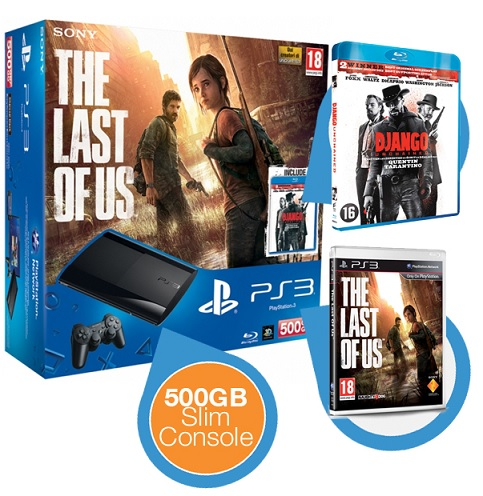 Playstation 3 Slim Spielekonsole + Blu-Ray Unchained Django + Spiel The Last of Us