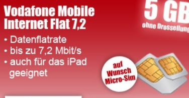 vodafone mobile internet flatrate mit 5gb bis zu 7 2 mbit s ab 2 36 pro monat update3. Black Bedroom Furniture Sets. Home Design Ideas