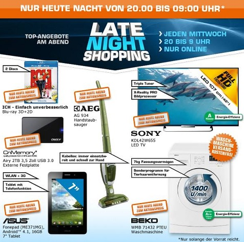 saturn late night shopping angebote juli 13