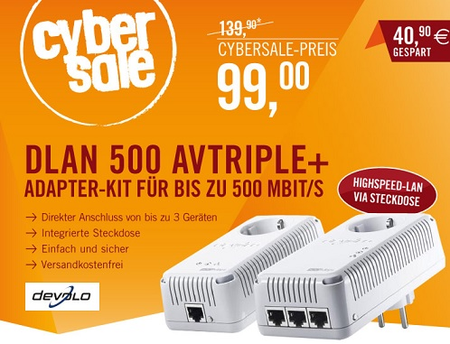 devolo dLAN 500 AVtriple+ Starter Kit 500MBit HomePlug AV-Adapter MAC PC