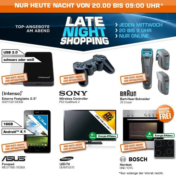 late night shopping angebote