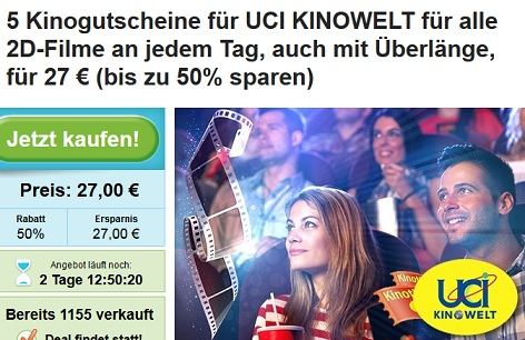 Groupon UCI Kinotickets