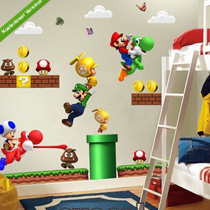 Super Mario Bros PVC Removable Wall Sticker Home Decor Decoration Kids Room G6