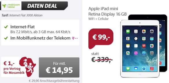 mobilcom debitel telekom internet flatrate mit 3gb apple ipad mini mit retina display wifi. Black Bedroom Furniture Sets. Home Design Ideas