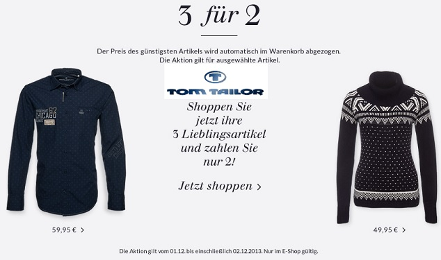 tom tailor 3 fuer 2 aktion