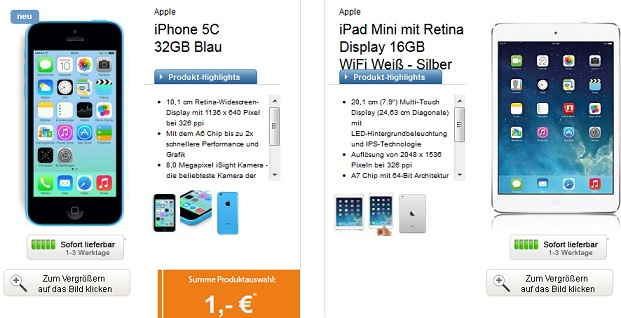 Apple iPhone 5C 32GB Apple iPad mini mit Retina Display 16GB Wifi