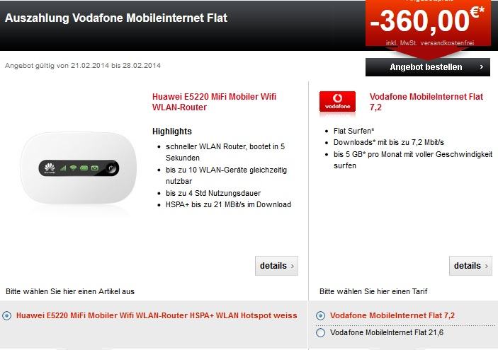 Vodafone Mobile Internet Flat