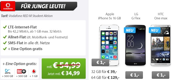 vodafone red m junge leute knallerangebot bei sparhandy apple iphone 5s 32gb f r 39 lg g flex. Black Bedroom Furniture Sets. Home Design Ideas