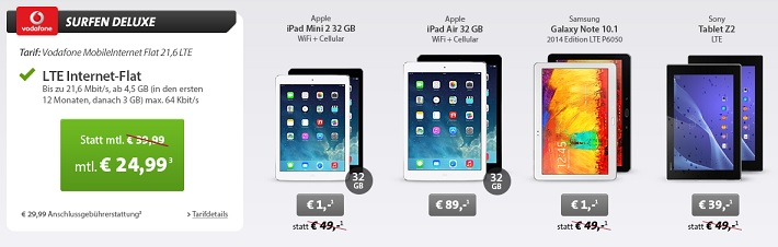 vodafone mobileinternet flat 21 6 lte mit z b apple ipad. Black Bedroom Furniture Sets. Home Design Ideas