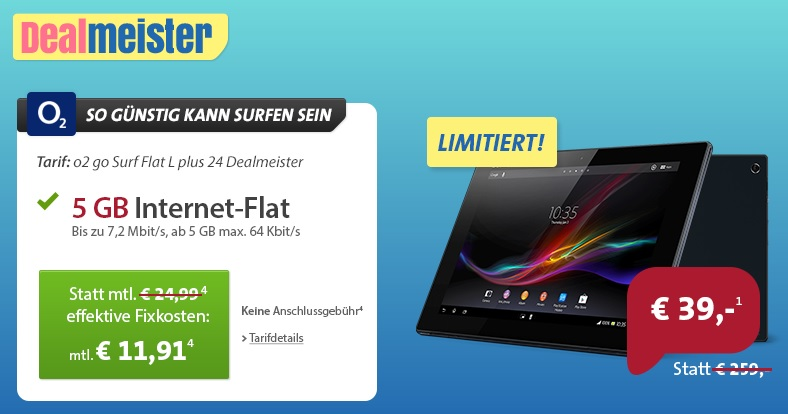 sony xperia tablet z 16gb lte 5gb internet flatrate f r insgesamt 324 89 preisvergleich 409. Black Bedroom Furniture Sets. Home Design Ideas