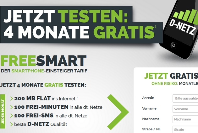 freenetmobile 4 Monate gratis testen