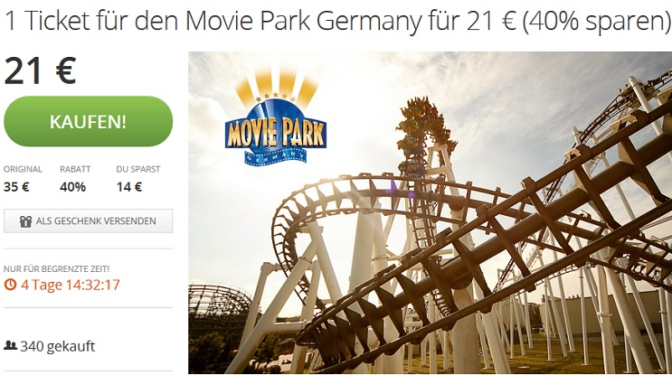 movie park germany tagesticket f r 21 update. Black Bedroom Furniture Sets. Home Design Ideas