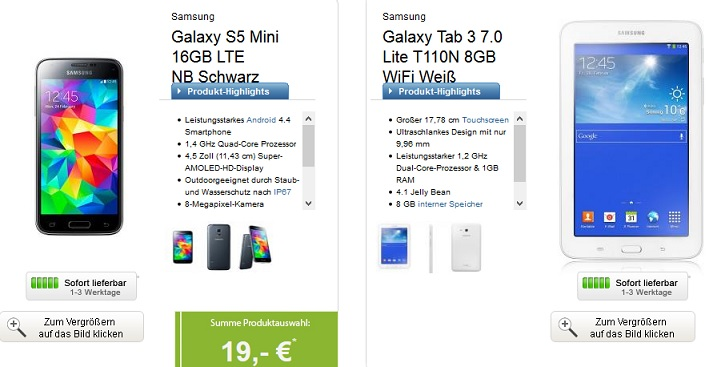 Samsung Galaxy S5 Mini mit Tablet