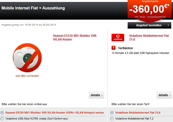 Vodafone Mobile Flat Auszahlung