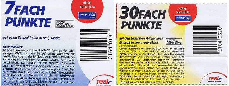 Real 1000 Payback Punkte