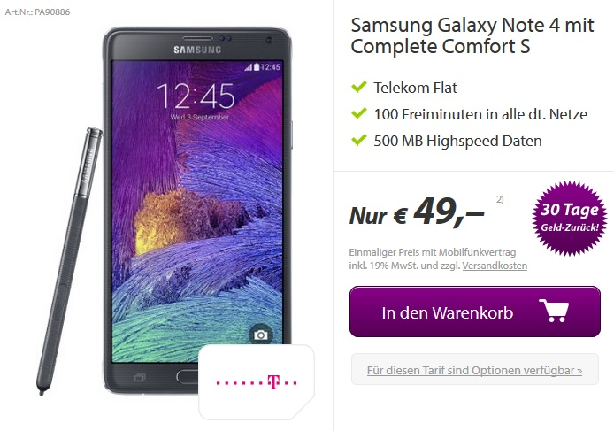Samsung Galaxy Note 4 Telekom Complete Comfort S