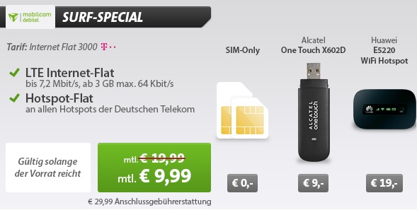 telekom internet flat 3000 mit 3gb datenvolumen hotspot. Black Bedroom Furniture Sets. Home Design Ideas