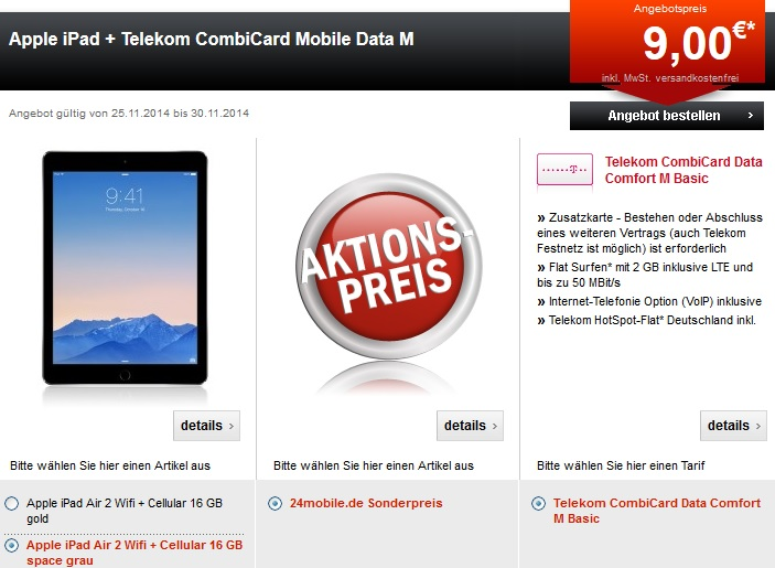 Apple iPad Telekom CombiCard Mobile Data M