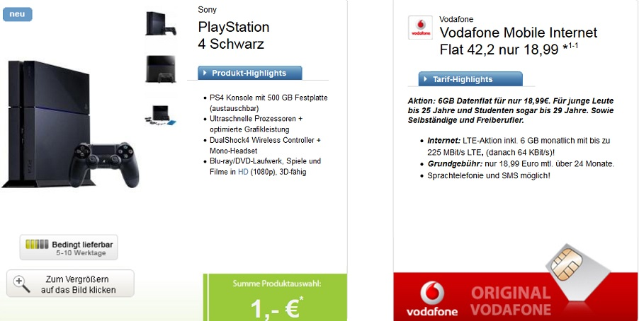 Sony Playstation 4 Bundle mit Vodafone Vertrag