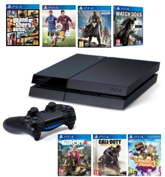 sony playstation 4 mit gta v f r 387 oder mit fifa 15. Black Bedroom Furniture Sets. Home Design Ideas