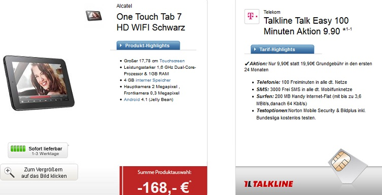 Talkline Talk Easy 100 mit One Touch Tab 7