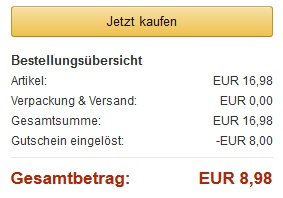 Amazon Rabatt Warenkorb