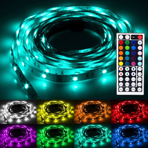 5m rgb led strip dimmbar mit fernbedienung f r 14 99. Black Bedroom Furniture Sets. Home Design Ideas