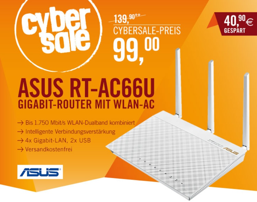 asus rt ac66u f r 99 dual band wlan router 2x usb. Black Bedroom Furniture Sets. Home Design Ideas