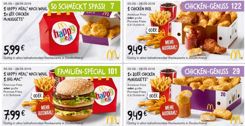 McDonalds Gutscheine September 2016