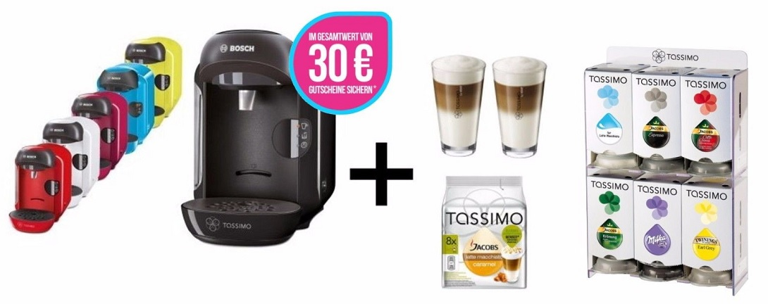 bosch tassimo vivy 30 gutschein t discs wmf gl ser. Black Bedroom Furniture Sets. Home Design Ideas