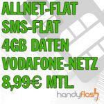 Vodafone-Netz: Allnet-Flat + SMS-Flat + 4GB für 8,99€/Monat (Mobilcom Debitel) *nur bis 3.12. (8 Uhr)*