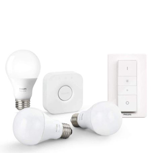 philips hue white starter kit e27 mit 3 lampen bridge und dimmschalter google home mini f r. Black Bedroom Furniture Sets. Home Design Ideas